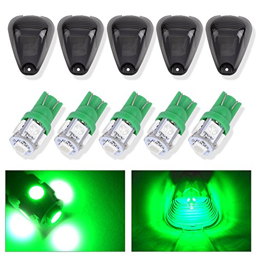 Cab Lights,YITAMOTOR 5 x Super Duty Smoked Lights,Roof Running Light Cab Marker Cover Lens +T10 5050 Wedge 5 SMD LED Light bulbs W5W 2825 158 192 168 194 Green light for 1999-2015 Ford F-250 F-350 F- - Ford Green