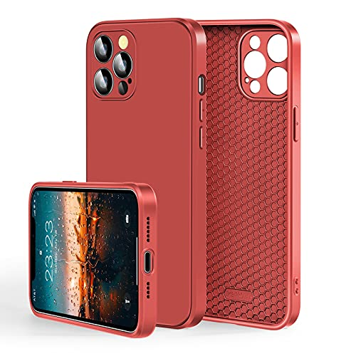 HUANLI Compatible for iPhone 12 Pro Max Case 6.7 Inch Honeycomb Shockproof [Military Grade Drop Protection] Breathable & Rapid Heat Dissipation Shock Absorption Phone Case Slim Thin (Red)