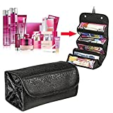 4 in 1 Roll N Go Bag Organizer , E LV Luxury Roll n Go Outdoor Travel , Toiletry , Cosmetic , Shaving , Jewellry , Toys , Electronics, Accessories Storage Bag organizer - BLACK