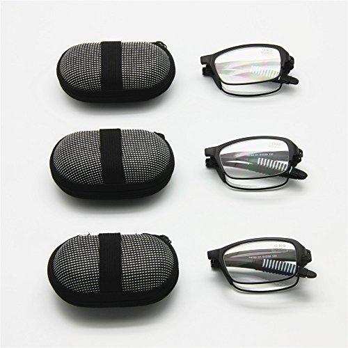 3 Pairs Pack Mini Folding Reading Glasses with Case, 1.0 to +3.5 Men Women Foldable Presbyopia Hyperopia Pocket Reader