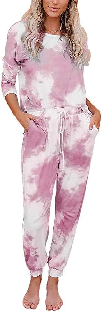 2 Piece Women Tie Dye Sweatsuit Set Long Sleeve Pullover and Drawstring Sweatpants Sets