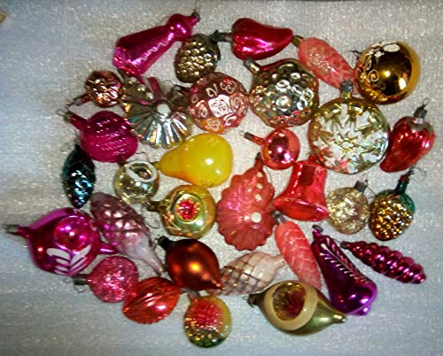 #27 Lot 32 Vintage USSR Soviet Russian Christmas Tree Glass Ornaments Decoration