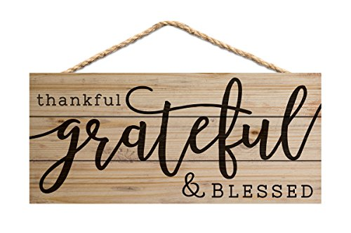 (P. GRAHAM DUNN Thankful Grateful Blessed 10 x 4.5 Inch Pine Wood Decorative Hanging)