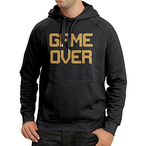 Hoodie Game Over! Vintage t Shirts Funny Gamer Gifts Gamer Shirt (XX-Large Black Gold)