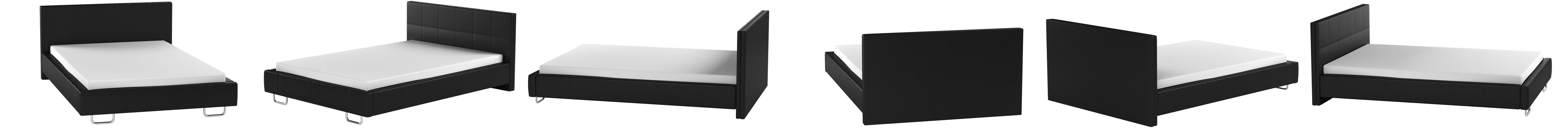 muebles bonitos Cama de Matrimonio Moderna Sofia con somier de láminas para colchón de 135x190cm Negro diseño Italiano Elegante