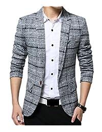 Spirio Men Notched Lapel One Button Plaid Flap Pockets Business Blazer Jackets Coat