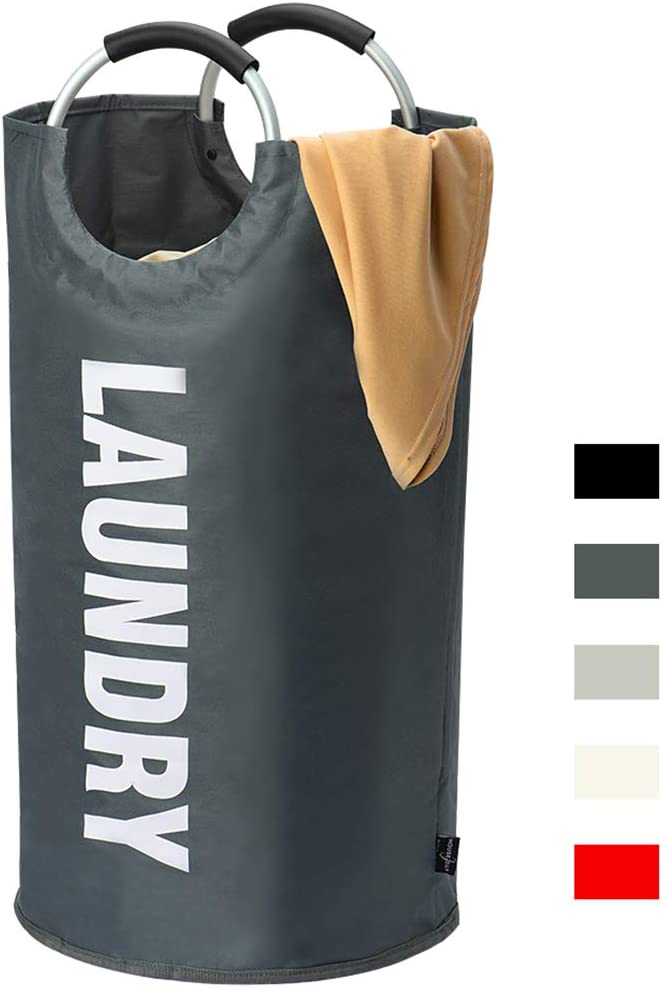 HOUSE DAY Large Laundry Hamper Collapsible Fabric Laundry Basket, Foldable Clothes Bag, Folding Washing Laundry Bag(Dark Grey,82L)
