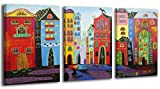YS-Art Acrylic Painting Dream City | 100% HANDPAINTED + Certificate | Artwork on Canvas and Wooden Frame | Picture Handmade | Fine Art Unique | 3-Piece | Modern Wall Art | 120x80 cm by YS-Art