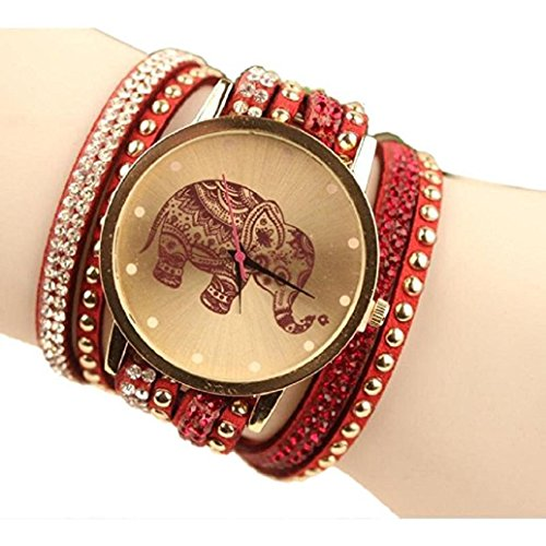 Diamonds Ladies Womens Watch - AMA(TM) Women Elephant Pattern Wristwatch Diamond Bracelet Watches Gifts (Red)