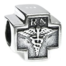 Queenberry Sterling Silver Rn Registered Nurse Cross Bead For European Chamilia Biagi Troll Pandora Charm Bracelets