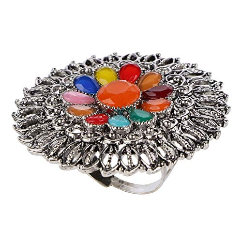 Efulgenz Boho Floral Multicolor Vintage Gypsy Indian Oxidized Silver Statement Big Size Adjustable Cocktail Ring Jewelry