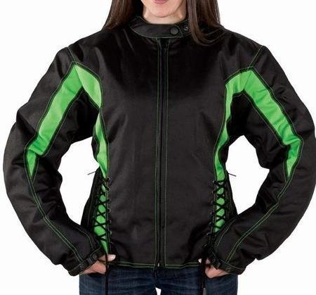 Womens Armored Black and Green Textile Motorcycle Jacket (Size 4XL, 4X-Large) (Textile Womens Biker Jacket)