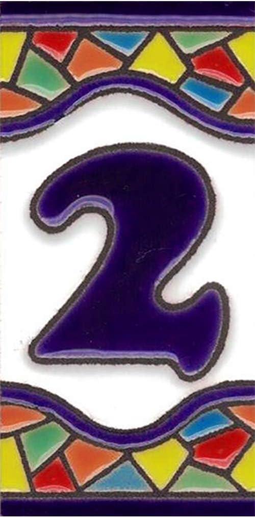Modelo Mini Mosaico 3,5 cms x 7,5 cms N/úmeros y Letras en cer/ámica esmaltada TORO DEL ORO N/úmeros para casas Pintados a Mano con la t/écnica de la cuerda seca N/úmero siete7
