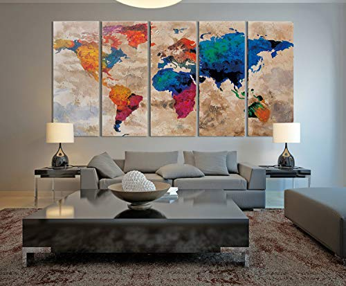 Funy Decor Canvas Prints Wall Art -Large Vintage World Map,5 Panel Modern Wall Art Ready to Hang Modern Artwork Living Room Office Wall Decoration (12