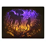 Papercut Light Box, 3D Shadow Box Led Night Light Lamp, Creative Light Paintings Decorative Mood Light, Gift for Baby and Adult, Bedroom Living Room (Jellyfish)