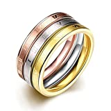 Focus Jewel Silver/Rose Gold/Gold Tri-tones Triple 0.9cm 3-Piece Stackable Ring Set with Roman Numbers