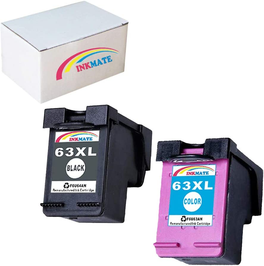 INKMATE Re-Manufactured Ink Cartridge Replacement for HP 63XL for HP Deskjet 1110 Deskjet 2130 Deskjet 3630 Envy 4520 Envy 4512 Officejet 3830 Officejet 4650 1 Black/ 1 Tri-Color,2Pack