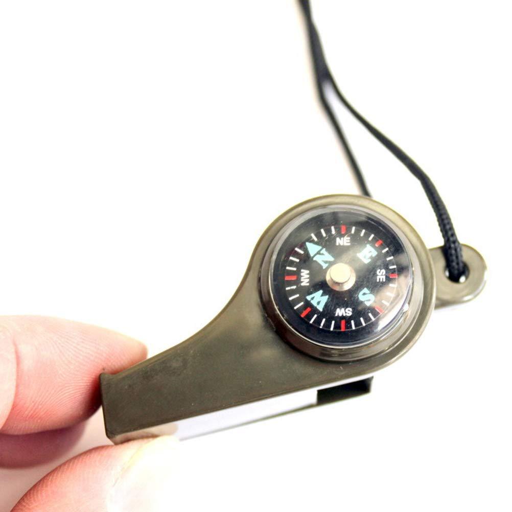LIOOBO 4 St/ücke Notpfeife mit Kompass und Thermometer Pfeife 3-in-1 Notfallpfeife Signalpfeife f/ür Kinder Erwachsene Outdoor Survival Notfall /Überleben Gr/ün
