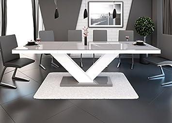 Tisch 14110 Esstisch Wohnzimmertisch Grau Weiss Hochglanz