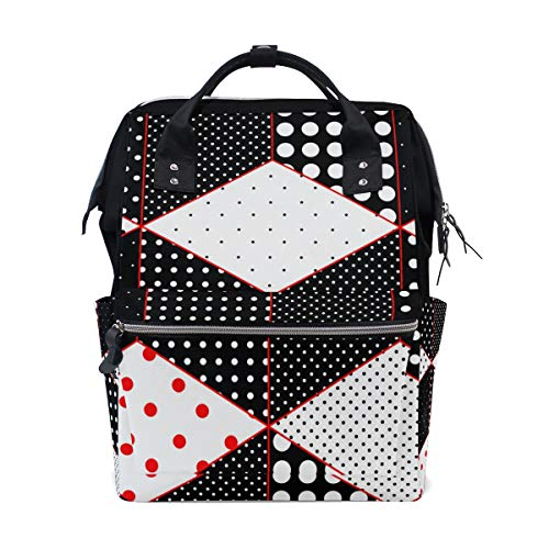Student Travel School Backpack Polka Dot Patchwork Cubes Surfaces Laptop College Bags Shoulder Tote ()
