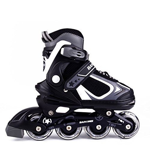 MammyGol Adjustable Inline Skates for Kids with Light up Wheels,Flashing Beginner Roller Skates for Boys and Girls Size 12-1