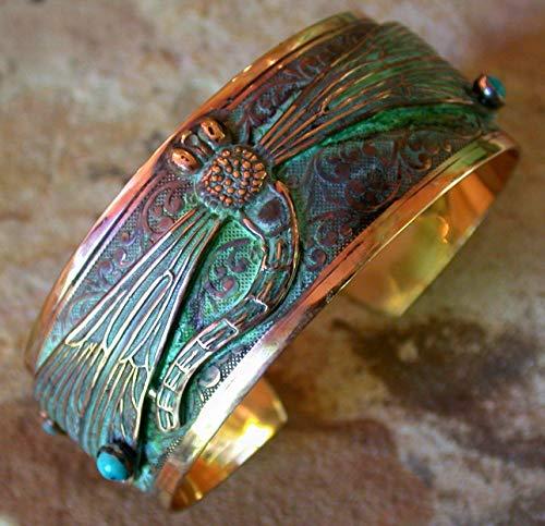 - Elaine Coyne Verdigris Patina Decorative Dragonfly Wearable Art Cuff Bracelet - Turquoise