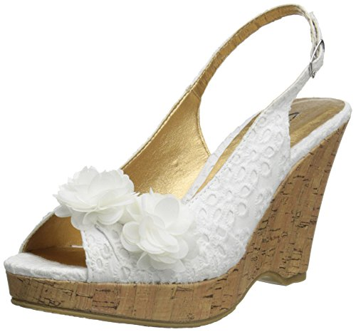 - CL by Chinese Laundry Women's Immortal Wedge Pump Sandal, White Flower Eyelet,  8 M US