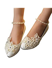 Getmorebeauty Women's Mary Jane Flats Pearls Across The Top Beach Wedding Shoes