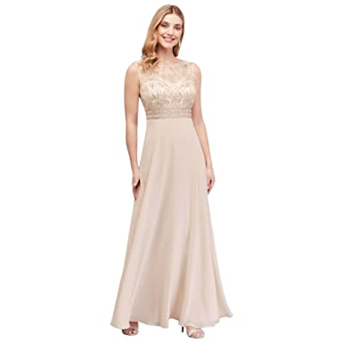 752e4697ae7 Beaded Chiffon Sheath Mother of Bride Groom Dress with Illusion Mesh Style  184567DB at Amazon Women s Clothing store