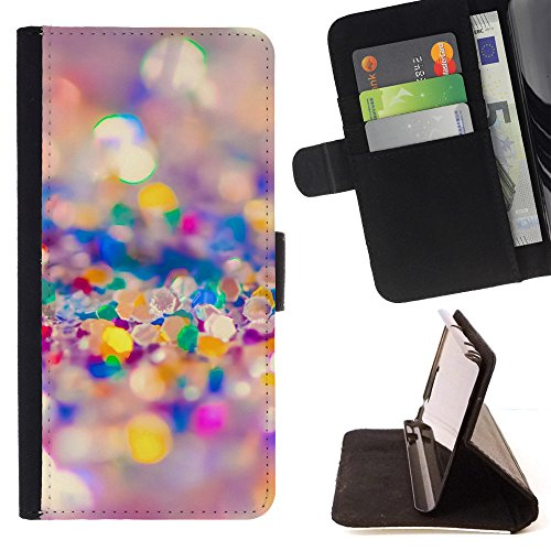 God Garden - FOR Apple Iphone 6 - Colorful Glitter - Glitter Teal Purple Sparkling Watercolor Personalized Design Custom Style PU Leather Case Wallet Fli