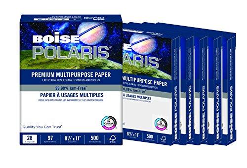 BOISE POLARIS Premium Multipurpose Paper, 8.5 x 11, 97 Bright White, 28 lb, 6 ream carton (3,000 Sheets) Premium High Speed Copy Paper