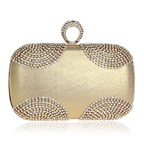 Clutch Bag Clutch Handbag Bag Women Diamond Evening (color: Black) Silver Gold