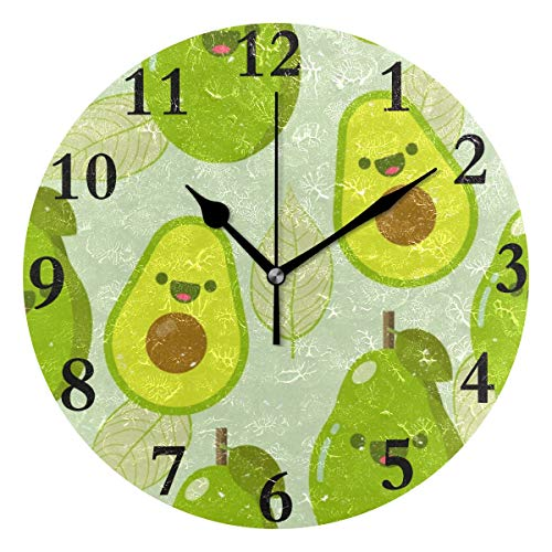 FunnyCustom Round Wall Clock Avocado Fruit Acrylic Creative Decorative for Living Room/Kitchen/Bedroom/Family