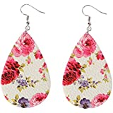 EIKdoulf02 Boho Earring Floral Pattern Teardrop Dangle Faux Leather Hook Earrings Jewelry for Women Girls Valentines Day Christmas Birthday Anniversaries Gift - Pink