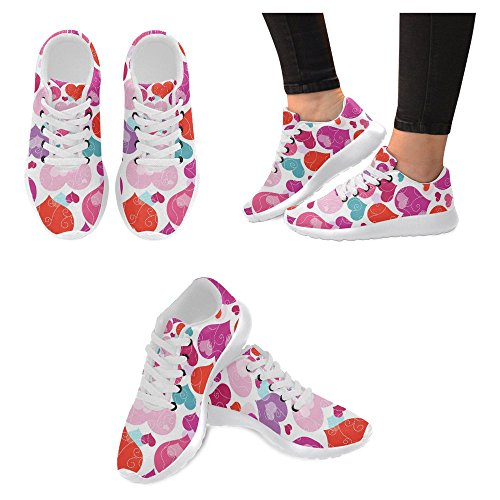 InterestPrint Womens Jogging Running Sneaker Lightweight Go Easy Walking Casual Comfort Running Shoes Decorative colorful hearts and Curls Multi 1 Aukey