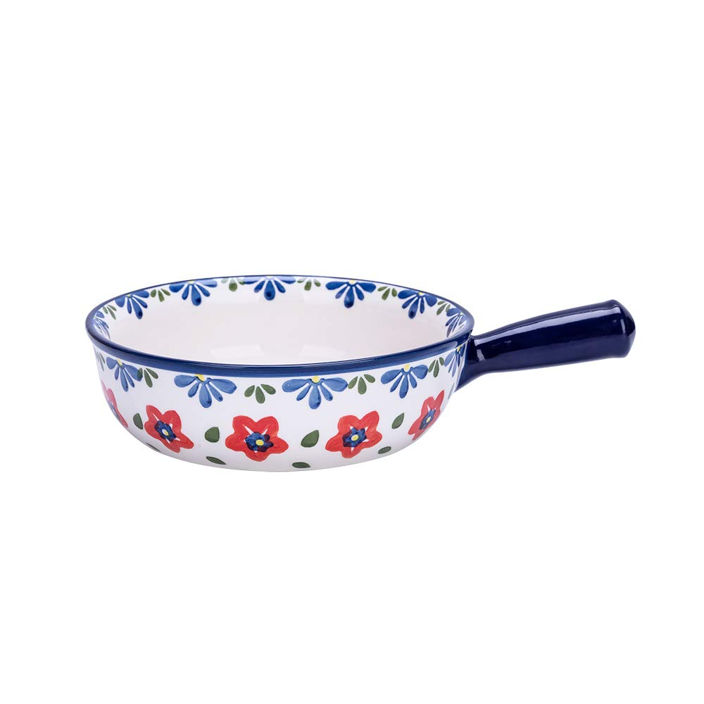 Ceramic Glaze Baking Bowl with Handle French Onion Soup Bowl Roasting Lasagna Pan Round Bakeware Suitable for Oven, Red Flower by MDZF SWEETHOME