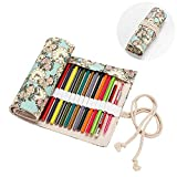 2 Trays Printer - Molshine Handmade Canvas Flowers Style Colored Pencils Wrap 36/48/72 Holes, Roll up Pen Holder Case Cute and Multi-Purpose (NO Pencil Included) (Clock, 48Holes)