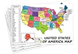 """USA States and Capital Educational Map Printed on Cardstock Paper 