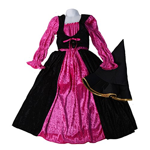 (Girls Hot Pink and Black Velour Renaissance Witch Dress & Hat Size 7-9 Years)