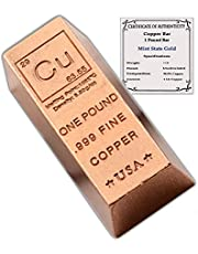 1 Pound Copper Bar Ingot Paperweight - 999 Pure Chemistry Element Design with Certificate of Authenticity