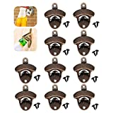 NewSoul1us 10X Bottle Opener Wall Mounted, Rustic Beer Opener Cap Catcher, Scratch Resistant'',Cast Iron Vintage Look with Screws, for Man Cave Kitchen Cafe Bars