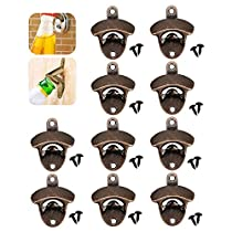 NewSoul1us 10X Bottle Opener Wall Mounted, Rustic Beer Opener Cap Catcher, Scratch Resistant,Cast Iron Vintage Look with Screws, for Man Cave Kitchen Cafe Bars