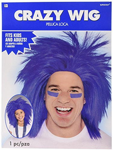 (Amscan Game Ready Team Spirit Crazy Wig Accessory Synthetic Hair One Size Costume Supplies (3), Blue, 3 Pieces)