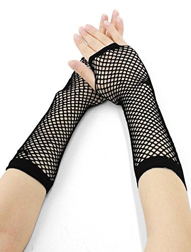 Length Fishnet Gloves (Allegra K Women Elbow Length Fingerless Fishnet Gloves 2 Pairs Black)