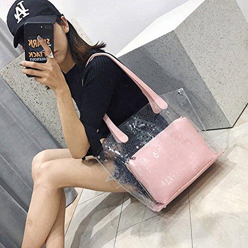 hombro Bolso Pink de moda GJ Bolsos Color transparente Pink Bolsa femeninos cruzado de de señora PU de ocio Bolso Bolsos qSnnCwBxIU
