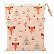 Wet Dry Bag Baby Cloth Diaper Nappy Bag Reusable with Two Zippered Pockets (Baby Fox)