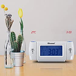MAZIMARK--Digital LED Dual Laser Wall Projector Projection Alarm Time Clock Thermo