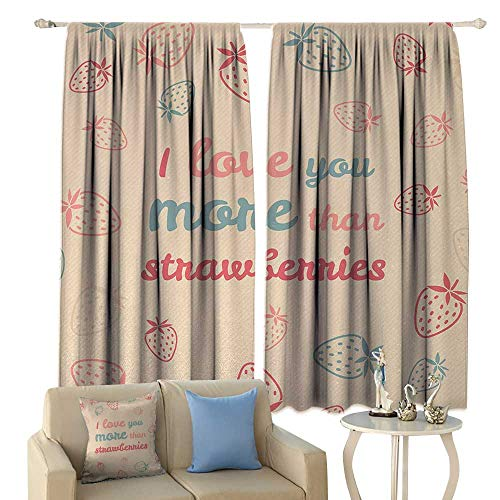 (HoBeauty I Love You More, Room Darkening Wide Curtains, Fun Quote and Pastel Backdrop with Scattered Strawberries, Waterproof Window Curtain,(W72 x L63 Inch, Sand Brown Coral Slate)