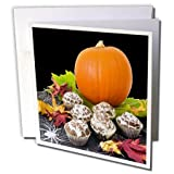 3dRose Sandy Mertens Halloween Food Designs - Pumpkin and Cupcakes - 12 Greeting Cards with envelopes (gc_6023_2)