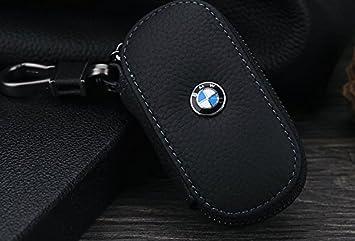 Lujo Funda llavero Fob remoto de BMW piel de color negro ...